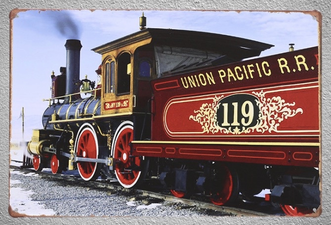 1 pc Train union Pacific railroad railway freight Tin Plate Sign wall man cave Decoration Art Poster metal vintage