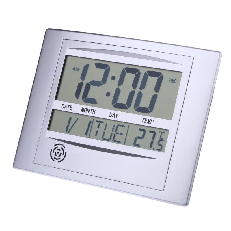 LCD Digital Reloj de pared con termómetro electrónico de temperatura calendario escritorio interior Digital del reloj de pared decoración para el hogar