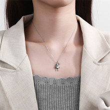 Silvology 925 Sterling Silver Robot Necklace Letter G Vintage Cute Hiphop Pendant Necklace for Women 2019 Fashionable Jewelry huge heavy 925 sterling silver movable limbs skull robot punk pendant 9l019 necklace 24inch