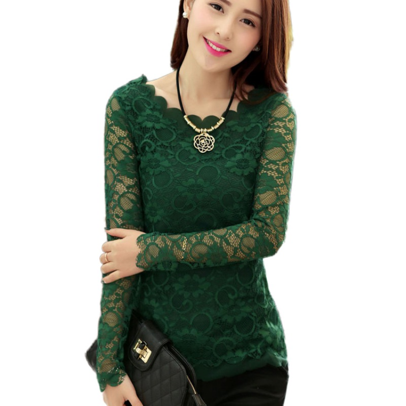 Sexy Hollow Out Long Sleeve   Shirt   Women Blusas Femininas Green Red Black Floral Lace   Shirts   Womens Tops and   Blouses   F2
