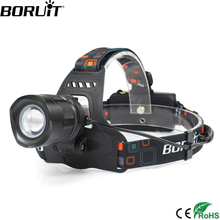 Boruit 2000LM XML T6 LED Headlamp Rechargeable Aluminum Zoom Headlight USB Output POWER BANK Head Lamp Torch Lantern Light