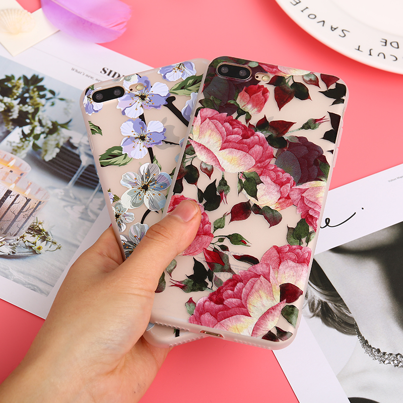 KMUYSL Fashion Relief Floral Slim Soft TPU Silicone Case For iPhone 7 Case 6 6S Plus 8 8 Plus For iPhone X Cases Coque Fundas