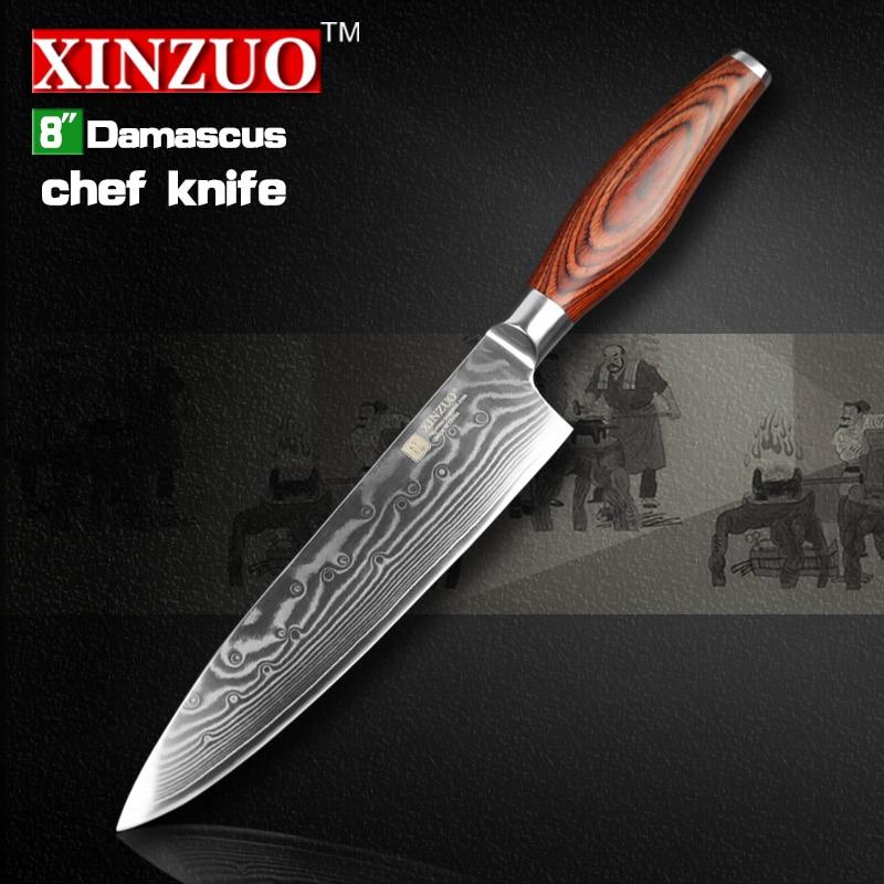XINZUO 8 inch chef font b knife b font 73 layers Damascus steel kitchen font b