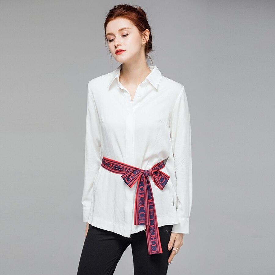 VERDEJULIAY haute qualité bureau couverture en coton 2019 été piste blanc Blouse lettre impression ceinture col rabattu chemises de travail - 4