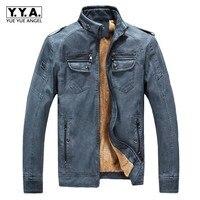 Retro Mens Pu Leather Jacket Faux Fur Lót Mùa Đông Ấm Kinh Doanh bình thường Choàng Đứng Cổ Áo Nam Loose Fit Outwear Coat 3XL