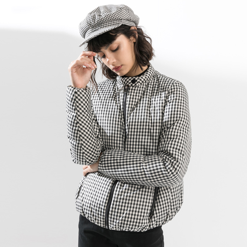 Fashion Classic Houndstooth   Down   Jacket Women Winter 90% Grey Duck   Down     Coats   2019 New Korean Short Women's Winter Jacket