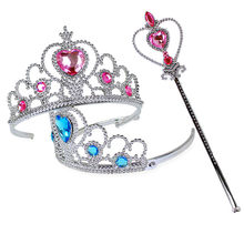 Girls 2 piece/Set Princess Tiara Elsa Accessories Children Diamond Crowns + Elsa Magic Wands girl Christmas Party Gift festival(China)