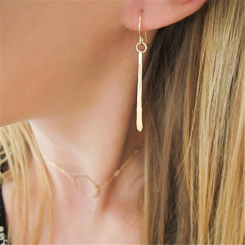 Handmade Long Bar Earrings 925 Silver/Gold Filled Hammered Jewelry Minimalist Brincos Vintage Oorbellen Earrings For Women