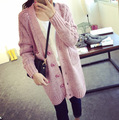 2016  New fashion Long Cardigan Womens Warm Sweaters For Winter Thick  V Neck Pocket Coat