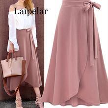 Laipelar, шифоновая Женская длинная юбка с оборками, с высокой талией, с бантом, с разрезом, асимметричные, макси юбки, для женщин, s, весна, лето, офисная одежда