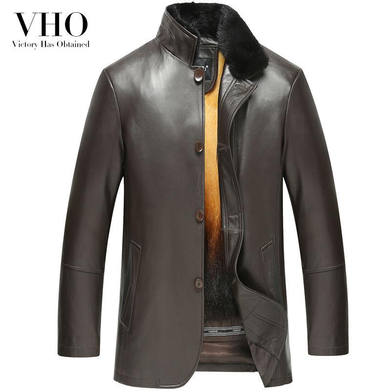 VHO winter middle-aged casual genuine leather jacket men's sheepskin outerwear mink fur liner nick garment medium long mink coat