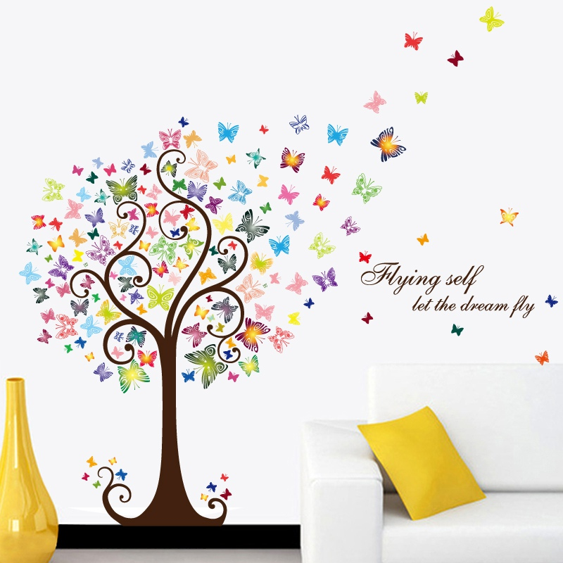 Romantic Butterfly Tree Removable wallpaper Bedroom Living Room Home DIY PVC Decals Home Decor kitchen wallpaper 2018 new pink butterfly flower tree wall sticker for home room decoration waterproof removable decals