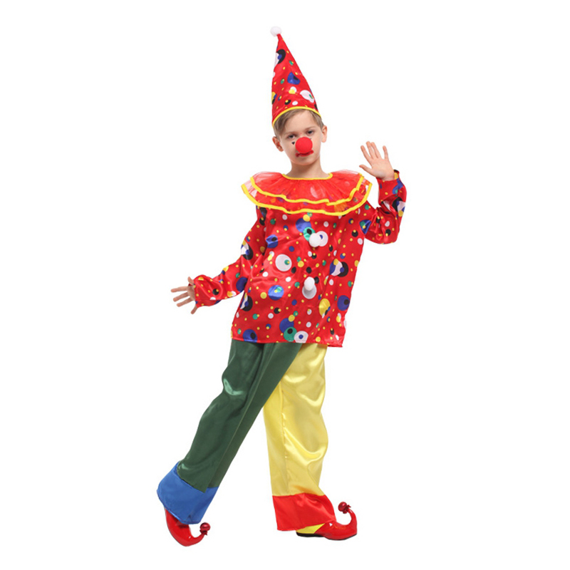 NEW! Free shipping Children Boy Girl Colorful Clown Cosplay Costume Funny Magician Hat Stage Performance Costumes Dress up