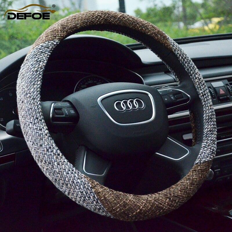 Aliexpress envío gratuito verano Lino cubierta del volante del coche de estilo del medio ambiente antideslizante transpirable de dirección de la rueda