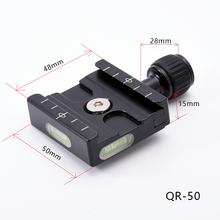 Qr-50 adapter plaat vierkante klem met gradienter voor quick release plaat voor statief balhoofd arca swiss rrs wimberley benro cheap SETTO Aluminium Cn (Oorsprong) 50mm QR50