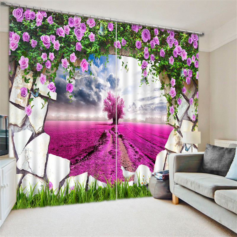 Lavender Garden 3D Blackout Curtains For Bedding room Living room Drapes Cortinas para sala Tapestry Wall DecorativeLavender Garden 3D Blackout Curtains For Bedding room Living room Drapes Cortinas para sala Tapestry Wall Decorative
