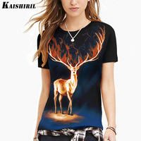 KAISHIRIL 2017 Harajuku 3D T Shirt Elk Printed T Shirt Women Tops Plus Size Summer Casual
