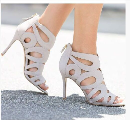 ФОТО Fashion ankle boots peep toe high thin heel flowers cut-out back zipper black white pink suede boots for woman in summer