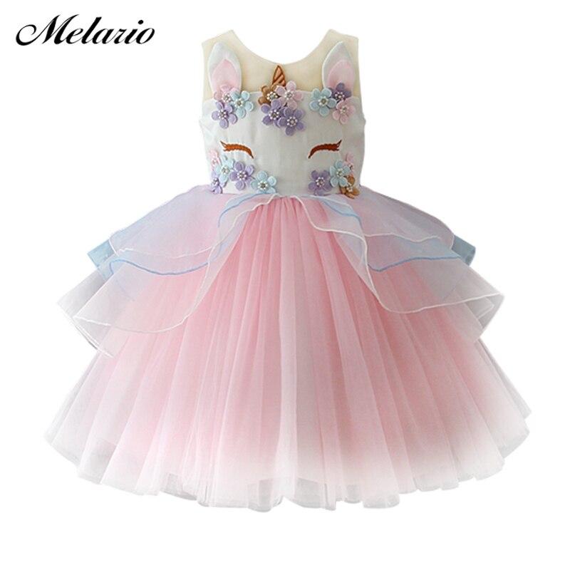 Melario de niños vestido de tul para el bordado de las niñas vestido de bebé flor vestidos de la princesa de boda, fiesta de disfraces