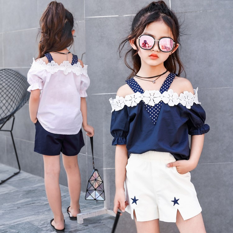 2018 New Kids Toddler Girls Clothing Set Lace Sleeveless T-shirt Tops Shorts Cute Baby Girl Summer Clothes Outfit 10 12 14 Years 3pcs outfit infantil girls clothes toddler baby girl plaid ruffled tops kids girls denim shorts cute headband summer outfits set