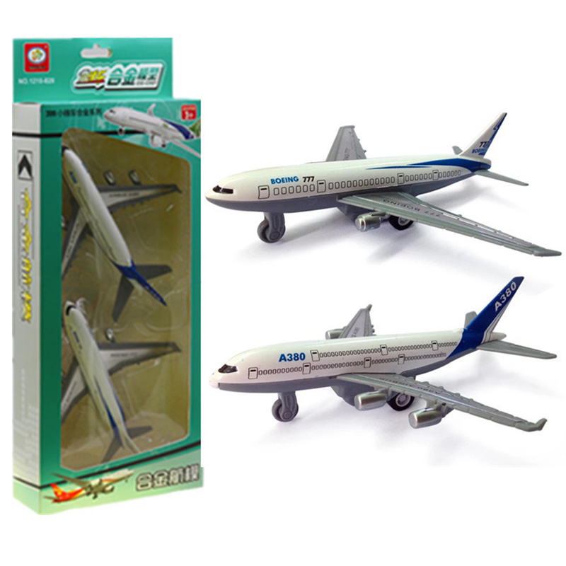 2pcs/set Newest Airplane Diecast Boeing 777 Airbus A380 Metal Models High Simulation Toy Can Slide Back Gifts For Children image