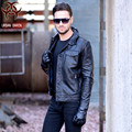 2017 New Men Leather Jacket Black Turn-down Collar Genuine Cowhide Plus Size XXXL Men Business Casual Winter Coat FREE SHIPPING