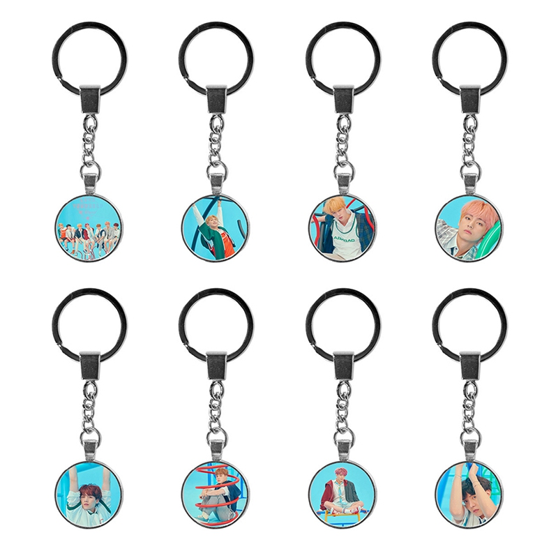 New BTS Logo Key Chain Personalized Bangtan Boys Album Photo Art Silhouette Keychain Jewelry For Friend Gift