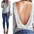 2016 Summer Fashion Sexy Backless Women Casual Long Sleeve Lace T Shirt TOPS Wholesale