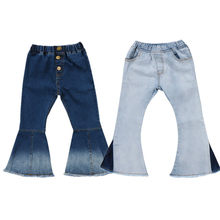 300d6ca8ca 2018 nuevo niño infantil del niño niños bebés Denim Bell-bottom pantalones  largos Hit Color pierna ancha pantalones vaqueros 2- .