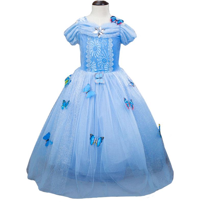 New Princess Cinderella Dress Girls Cinderella Costume Dresses Kids Long Blue Puff Tutu Party Dress Cosplay