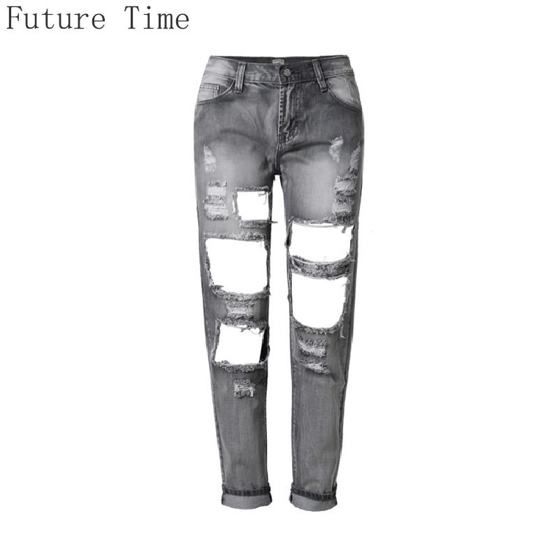 ФОТО 2017 Slim Pencil Jeans Women High Quality Ripped Jeans Female Smoke Gray Hole Nine Pants Loose Cowboy Mon Jeans Calca Feminina