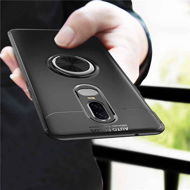 Luxury High Quality Anti-knock Soft Silicone Back Cover Case For OnePlus 6 ( One Plus 6 ) With Color Ring Bracket