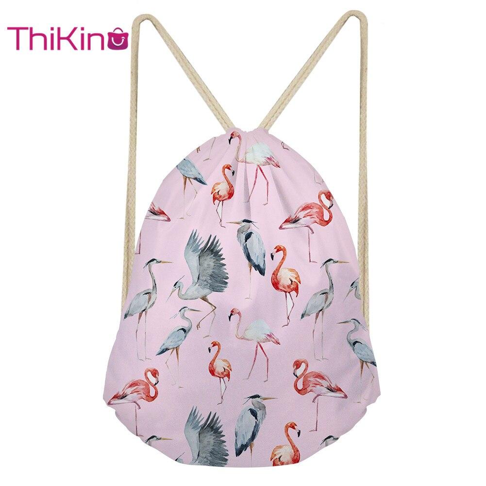 Thikin Flamingo Rolling Backpack for Teenager Kids Casual Sack Backpack Mini Toddler Backpack Girls Beach Mochila