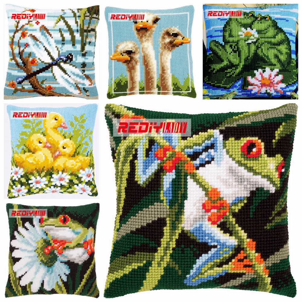 Rediy Cross Stitch Cushion Cover Tree Frog Home Decorative Pillow