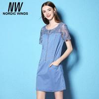 Nordic Winds Mini Denim Dress Flower Girl Lace Dresses 2017 Summer Dresses Plus Size 3XL Women