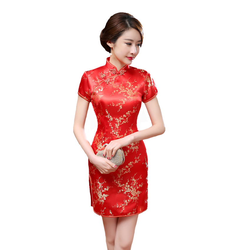 2018 New Red Chinese Women Traditional Dress Silk Satin Cheongsam Mini Sexy Qipao Flower Wedding Dress