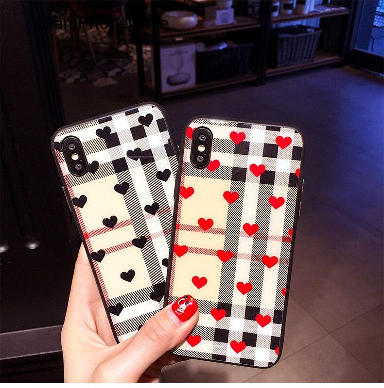 GlamPhoneCase Mode Liebe Herz Überprüfen Raster Zurück Glas Phone für iphone X 8 8 plus 7 7 plus 6 6 plus 6 s 6 Splus Plaid Abdeckung Capa