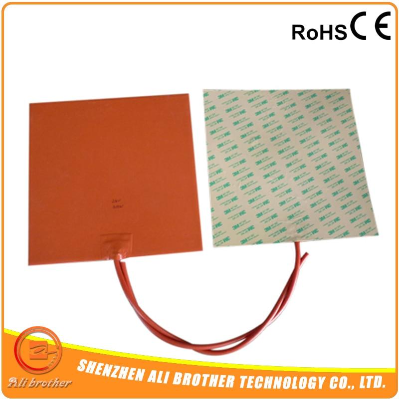 Гибкий силиконовый нагревательный элемент 12 v 200X200mm, 200W@ 12 V, NTC 100 K Термистор, 3d принтер нагреватель