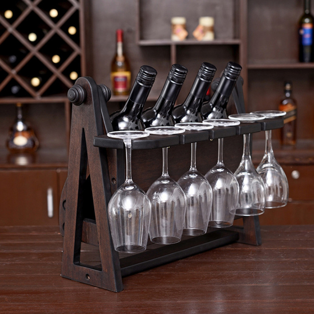 Creative 46x25x30cm Antique Wood Wine Rack Furniture For Home