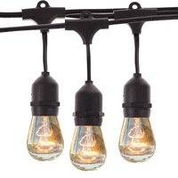 Waterproof 9m Vintage Patio Globe String Lights Black Cord Clear Glass Bulbs 30 Decorative Outdoor Garland