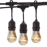 Waterproof 9m Vintage Patio Globe String Lights Black Cord Clear Glass Bulbs 30 Decorative Outdoor Garland
