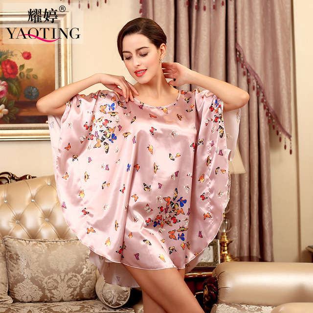 Fashion Lady Summer Robe Chinese Women's Butterfly Silk Nightgown Homewear clothes