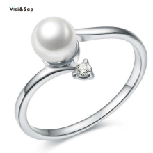 Visisap Elegant Imitation Pearl Rings for Women Dropshipping Wedding Engagement Crystal Ring Jewelry Factory Wholesale B2018