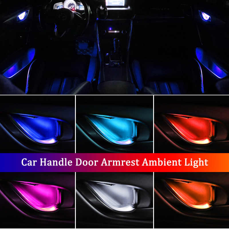 4Pcs Universal LED Inner Bowl Light Armrest Interior Door Handle Lighting Handrail Lights Decorative Lamp Bulb Car Lights