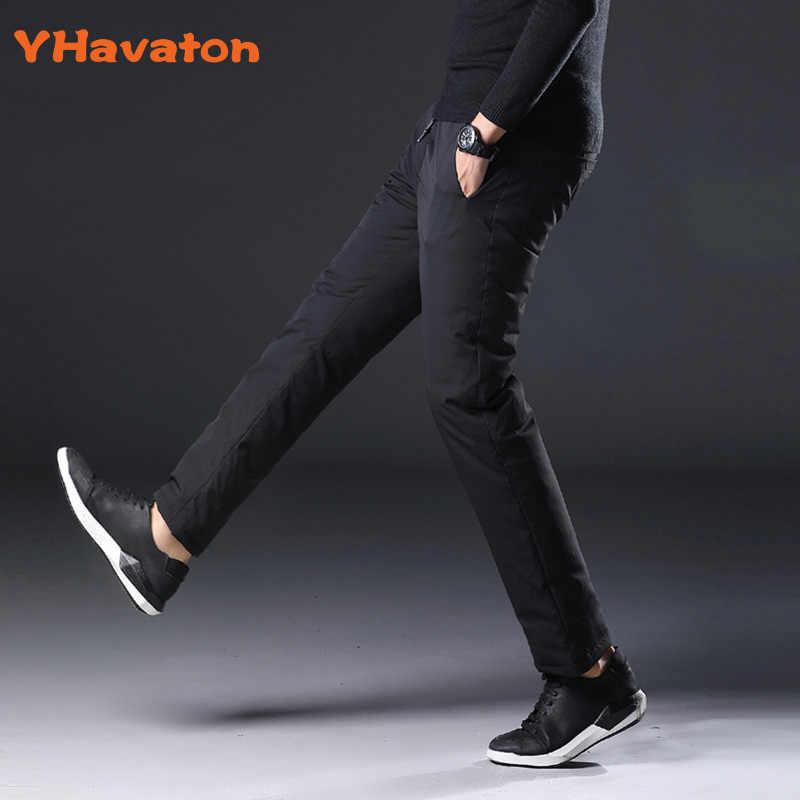 YHavaton メンズ 90% 白アヒルコールドプルーフパンツ 2019 冬ストレート外側の摩耗ビジネスパンツ暖かい入りズボン