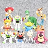 10pcs Lot Mini Toy Story Figure Toy Buzz Lightyear Woody Jessie Rex Mr Potato Head Lotso