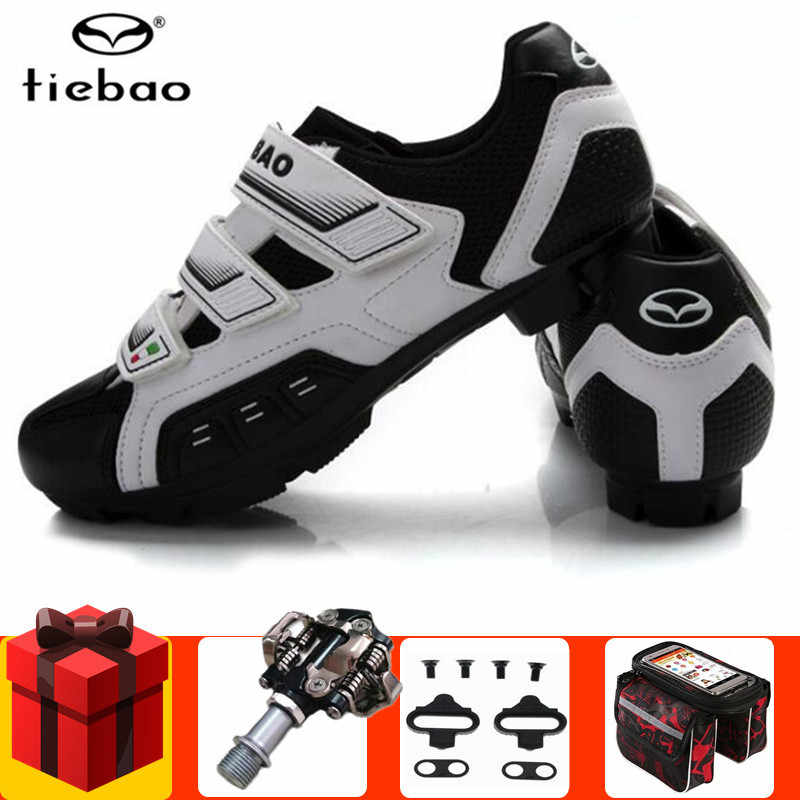 Tiebao Cycling Shoes add SPD pedal set Sapatilha Ciclismo Mtb Mountain Bike Bicycle Lock Shoes Riding Shoes Men sneakers Women