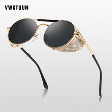 VWKTUUN Steampunk Sunglasses Round Designer Steam Punk Goggles Metal Shields Men Women UV400 Mirror Sun glasses New