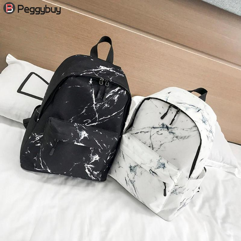Men's Bags Nice Fashion Unisex Backpack Women Men Canvas Backpack For Teen Girl Bags Casual Marbling Backpack Female Rucksack School Bag Mochila Backpacks