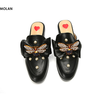 MOLAN Brand 2018 Spring Genuine Pigskin Leather Bee Pearl Crystal Flat Woman Slippers Slip On Butterfly